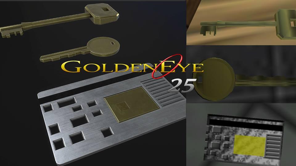 GoldenEye sleutel en toegangspas.