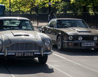 Aston Martin DB5 en V8 Vantage Londen Global James Bond Day 2018 header