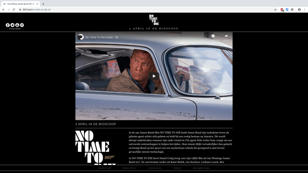 007.com No Time To Die website
