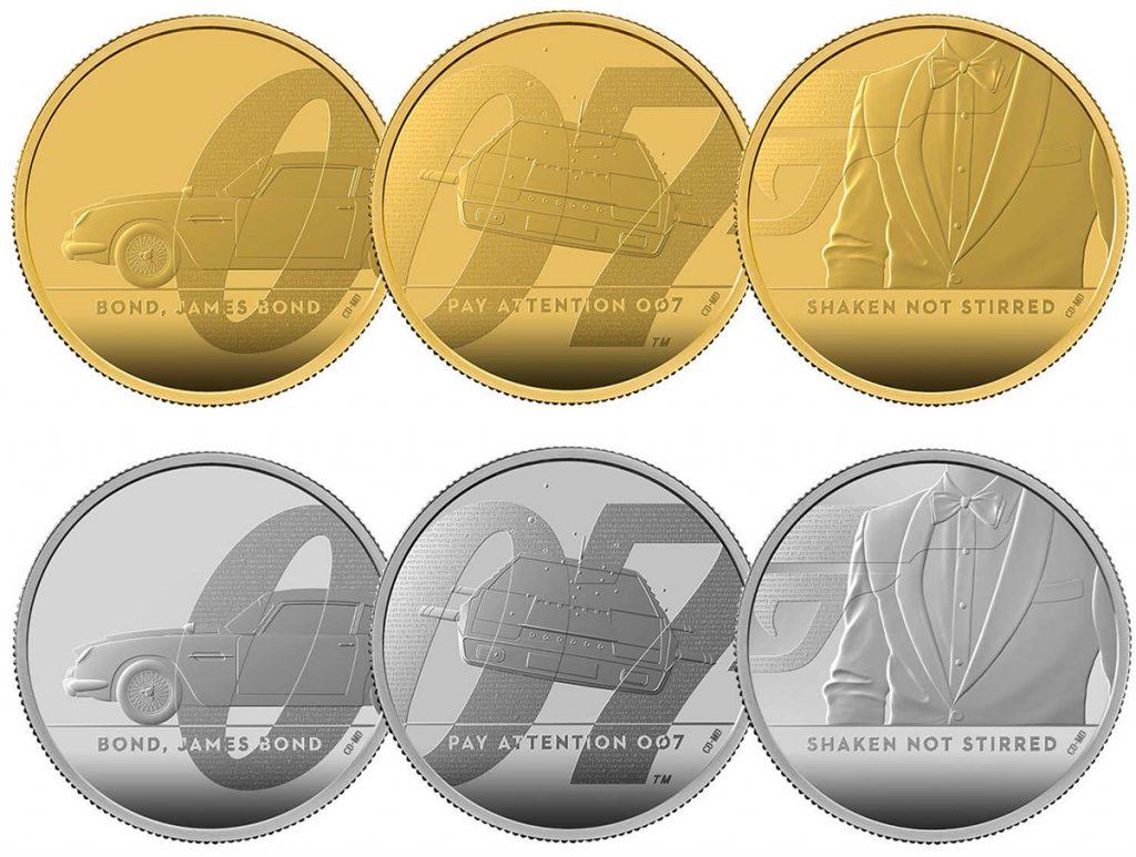 De laatste serie gouden en zilveren James Bond-munten van The Royal Mint.
